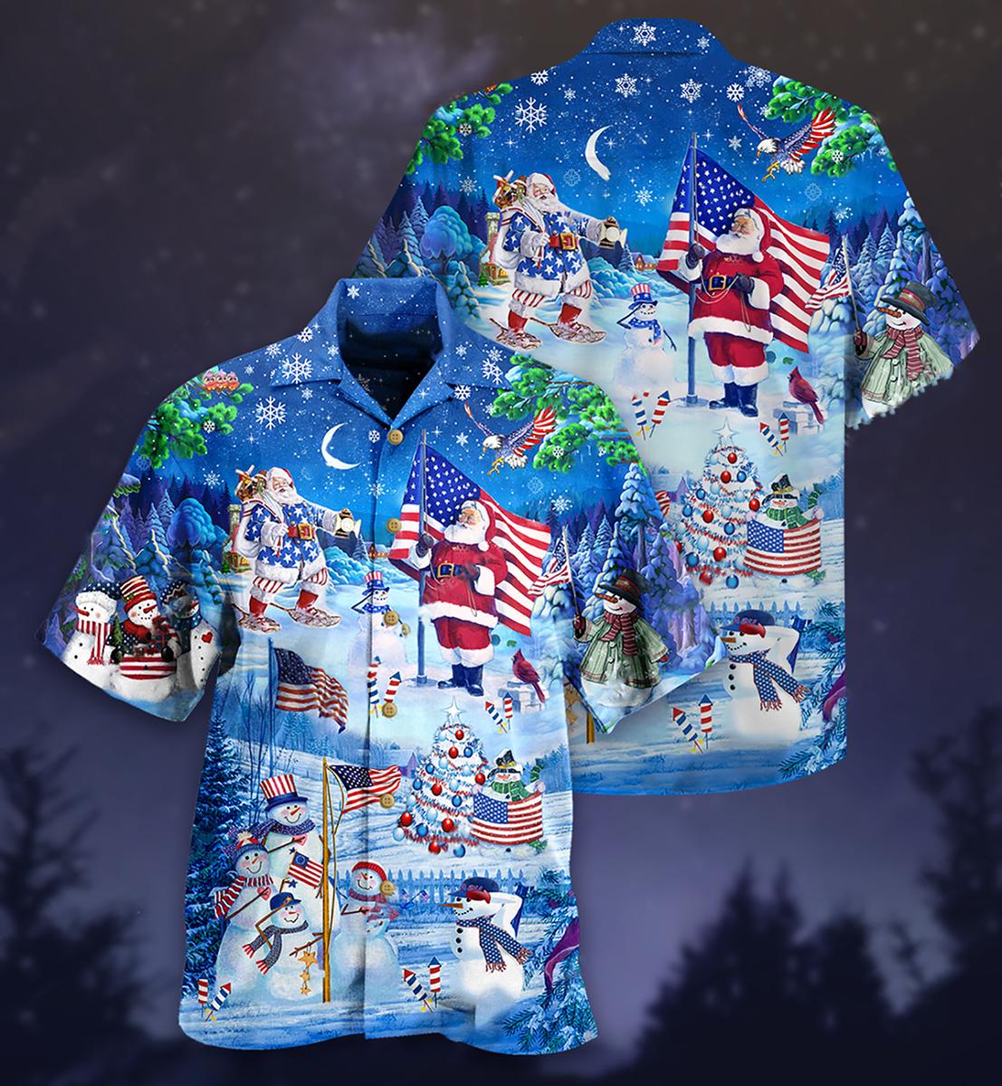 Santa Clause America merry xmas Hawaiian shirt