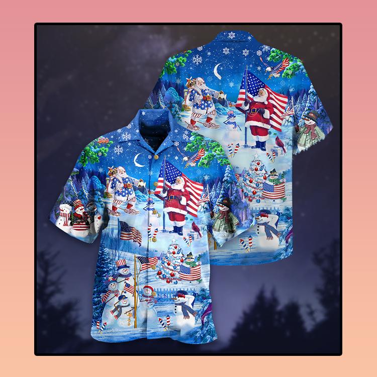 Santa Clause America merry xmas Hawaiian shirt3