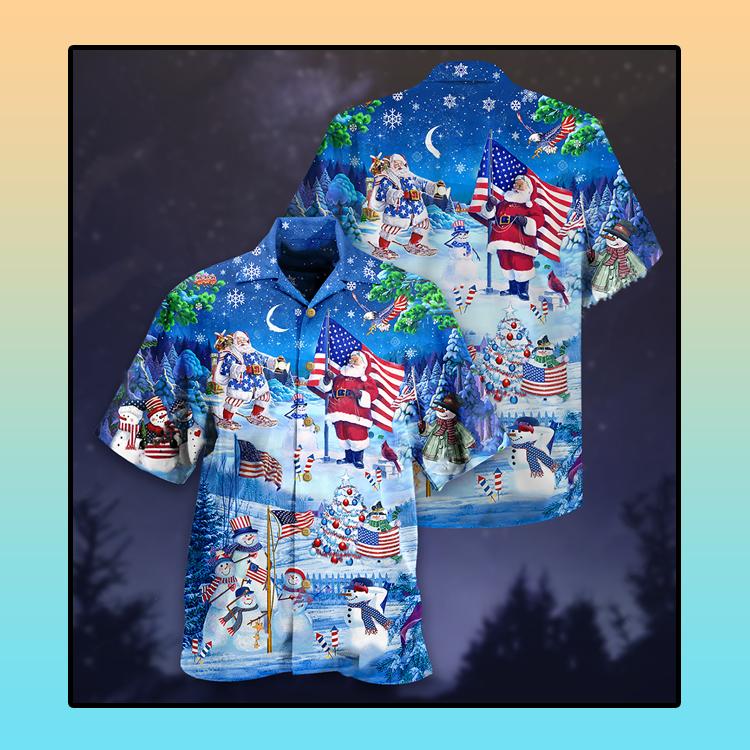 Santa Clause America merry xmas Hawaiian shirt4