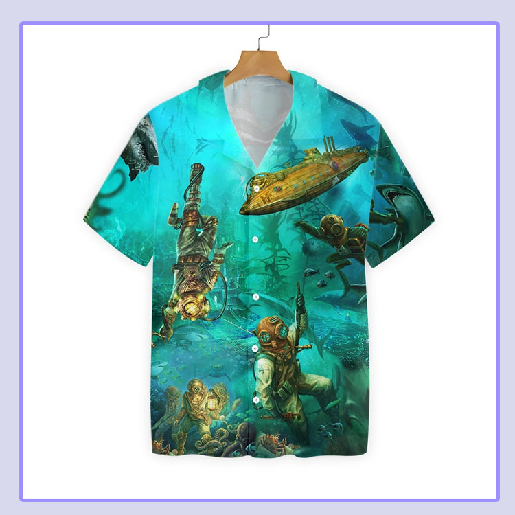 Scuba diving into the sea hawaiian shirt4