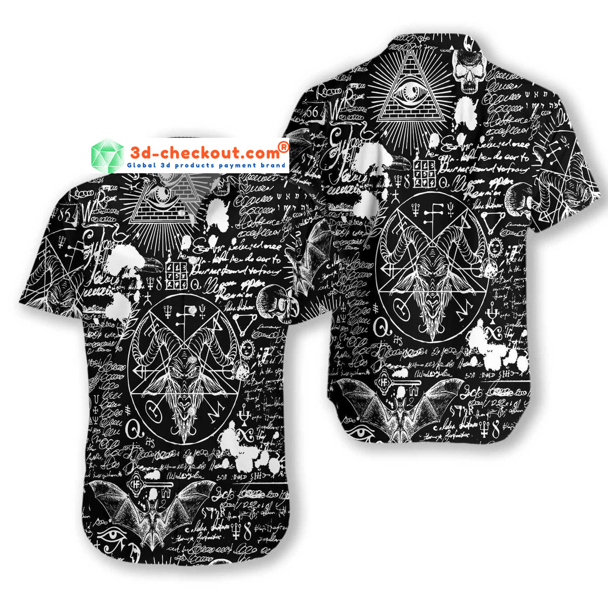 Seamless occultism Satanic goth hawaiian shirt