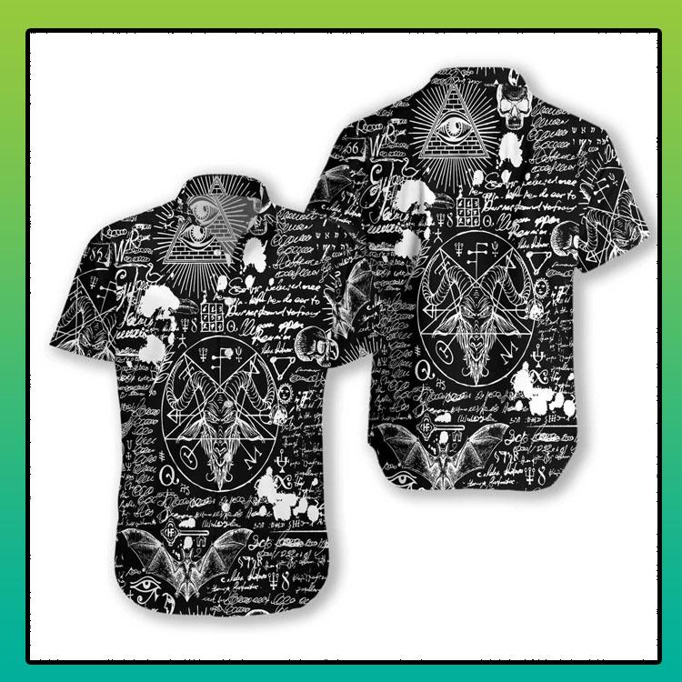 Seamless occultism Satanic goth hawaiian shirt4