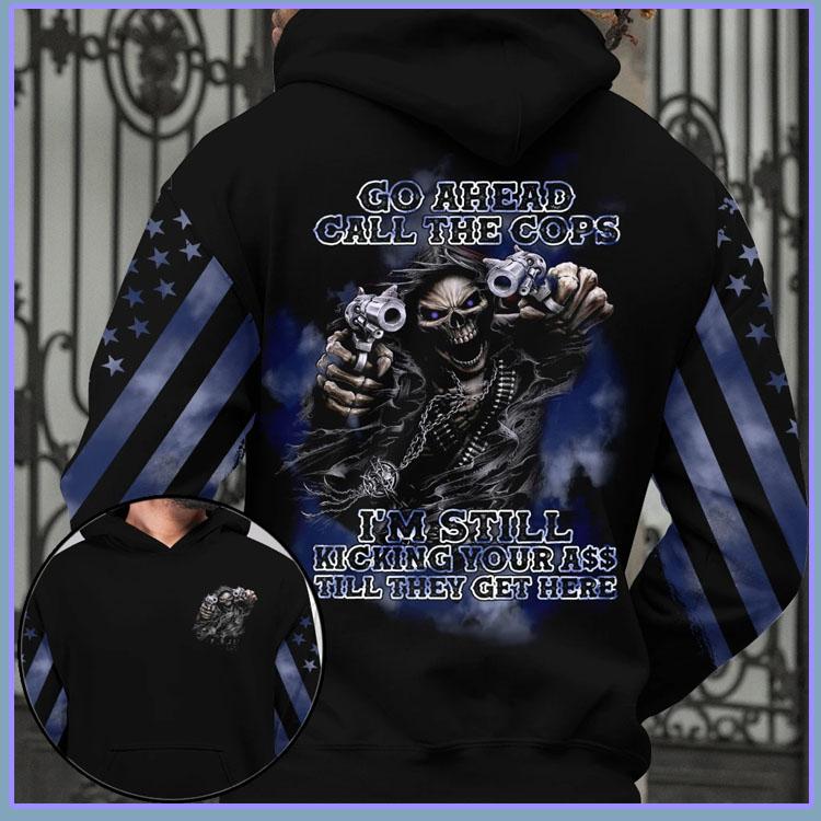 Skull Go ahead call the cops 3D hoodie6