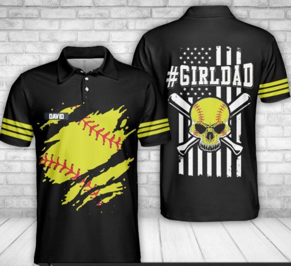 Skull baseball Girl dad custom name polo shirt