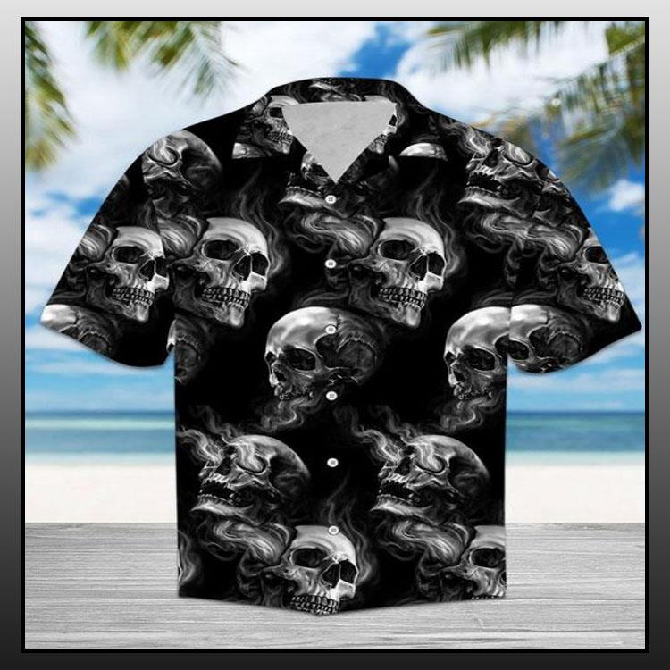 Skull smoke hawaiian shirt1