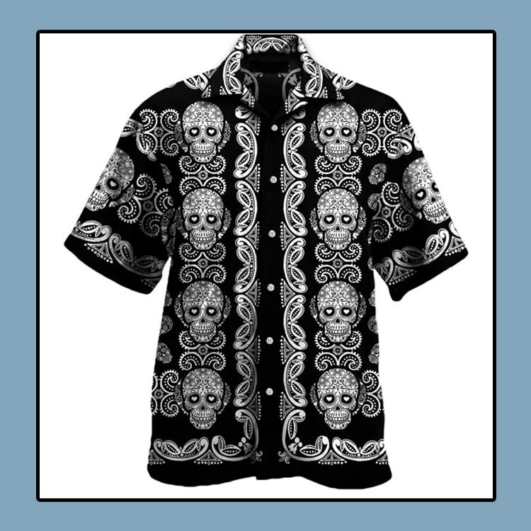 Sugar skull pattern all over print hawaii shirt1