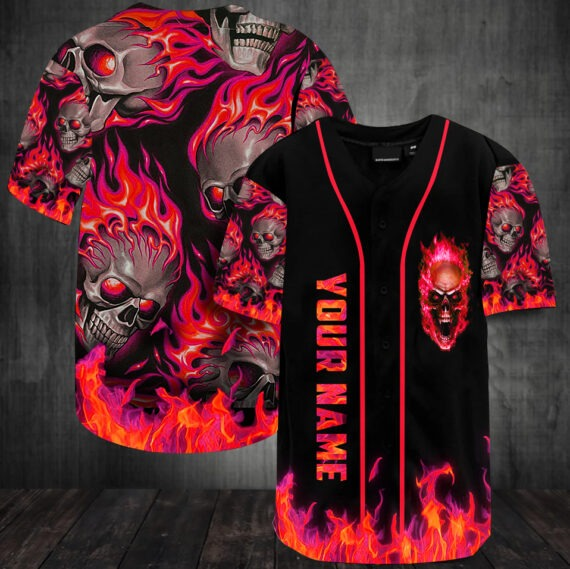 Sunny fire skull custom name baseball jersey shirt5