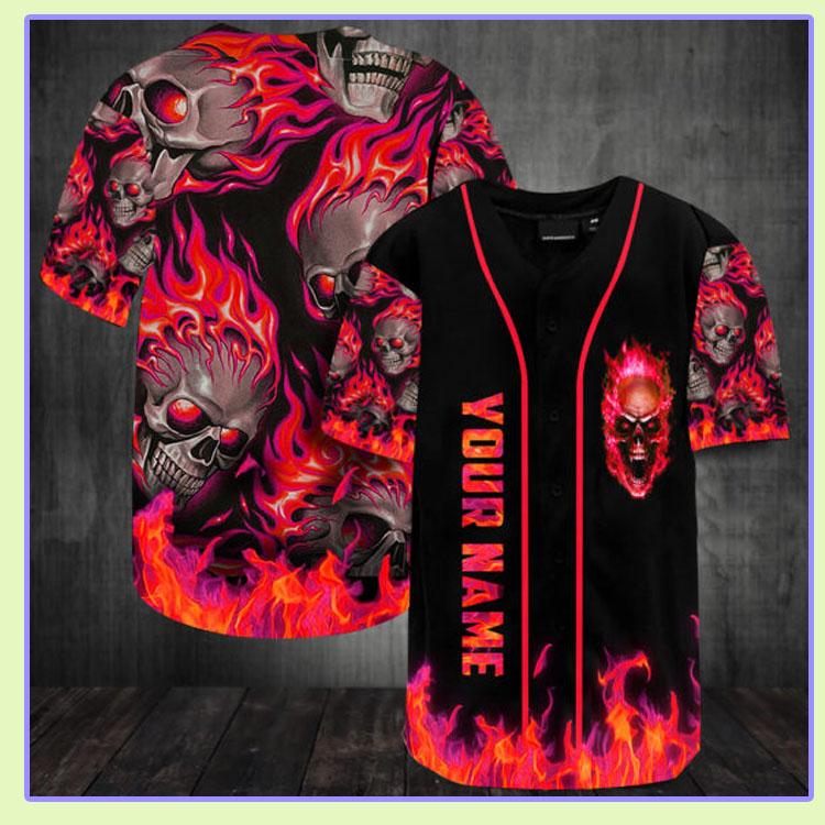 Sunny fire skull custom name baseball jersey shirt6