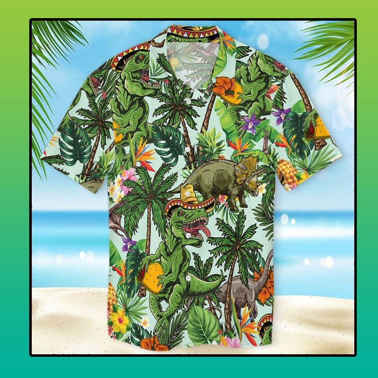 T rex tropical hawaiian shirt