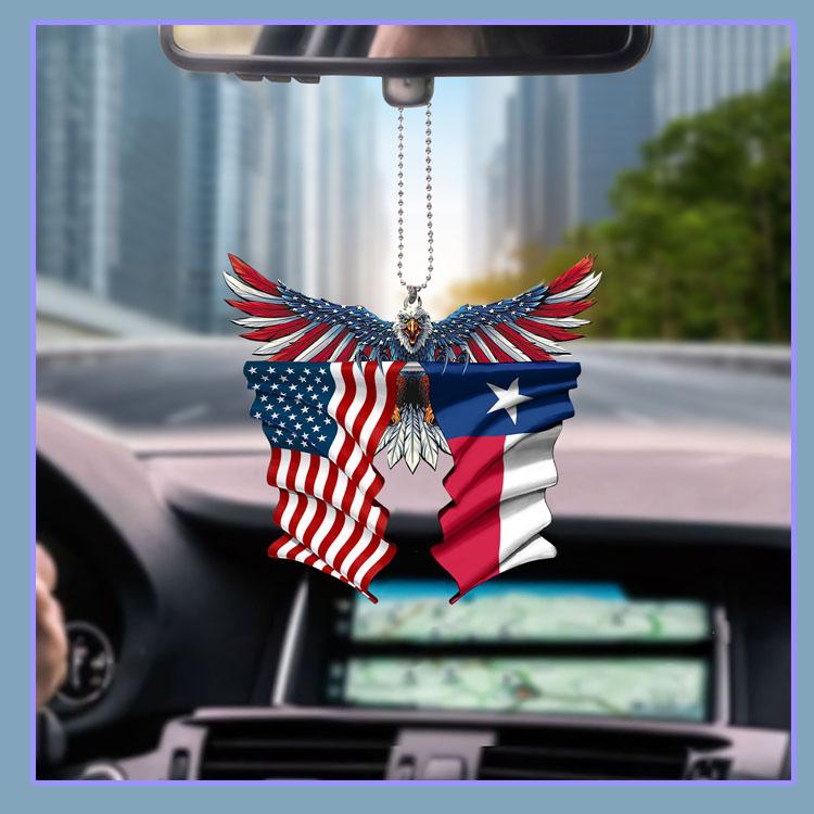 Texas United States American Eagle Flag car hanging ornament5