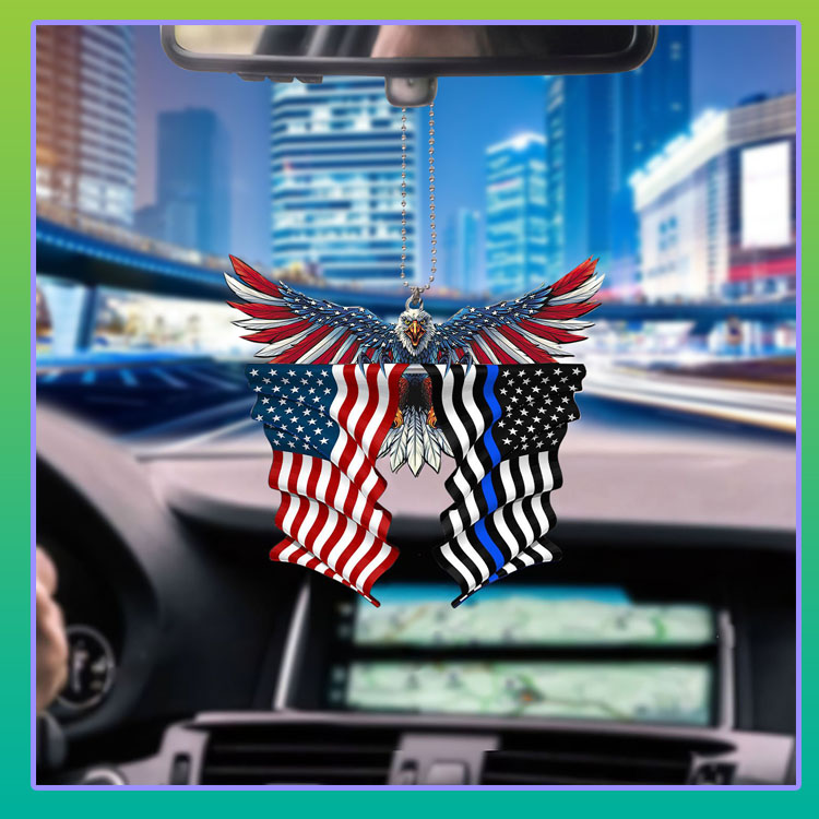 Thin blue line flag in honor of law enforcement United State American Eagle flag car hanging ornament5