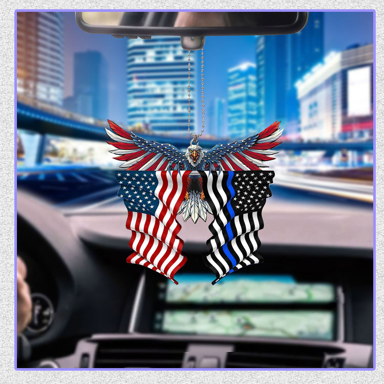 Thin blue line flag in honor of law enforcement United State American Eagle flag car hanging ornament6