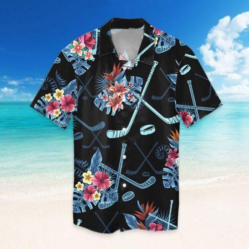 Tropical hockey hawaiian shirt