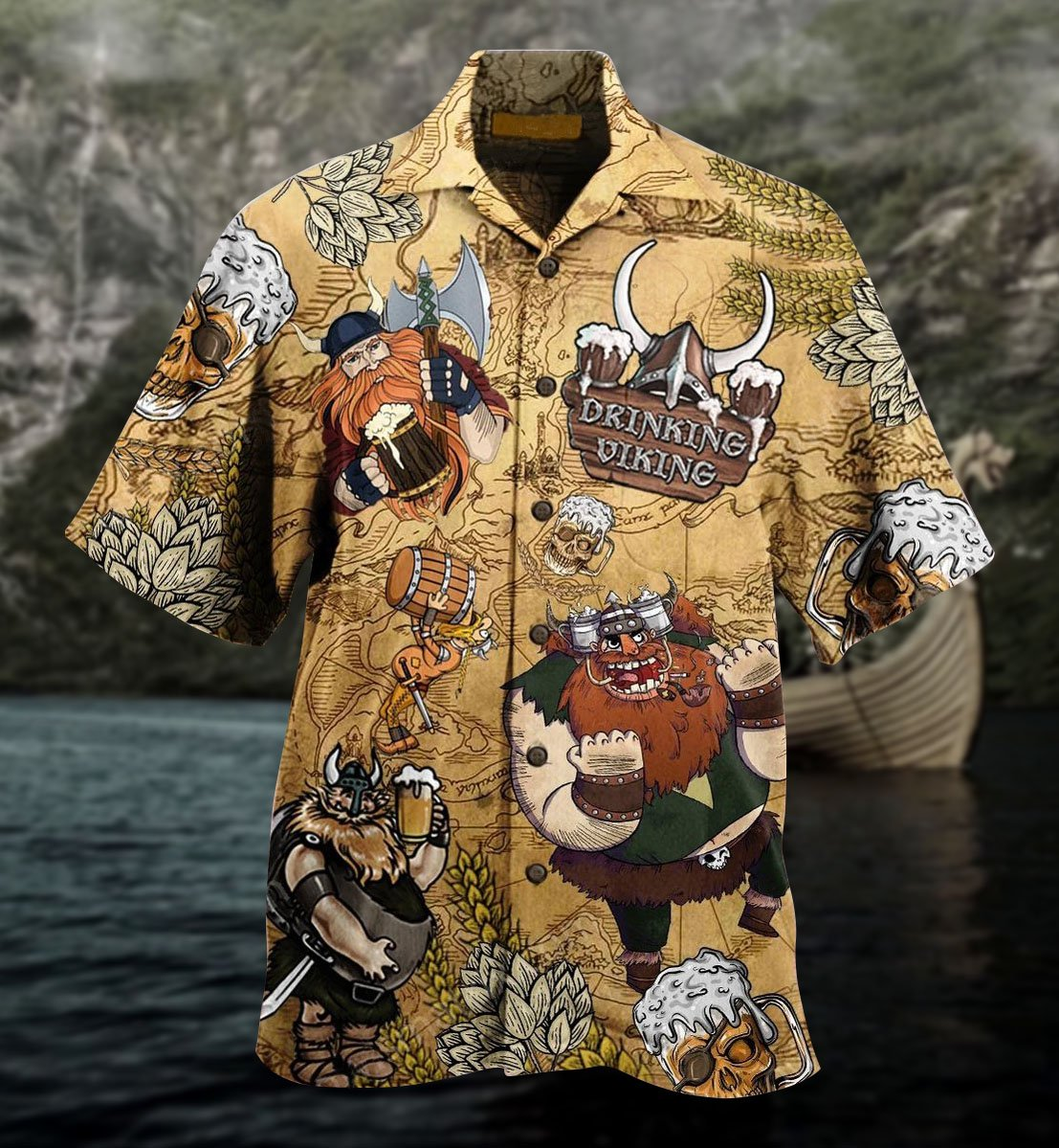 Viking drinking beer Hawaiian shirt