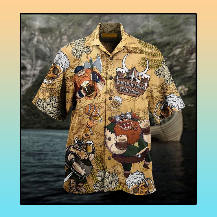 Viking drinking beer Hawaiian shirt3