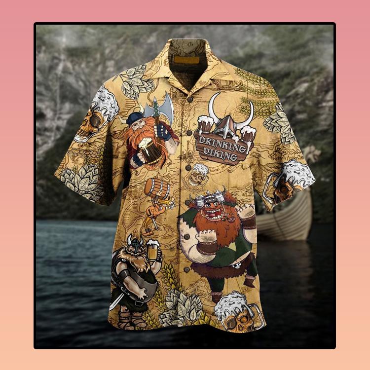 Viking drinking beer Hawaiian shirt4