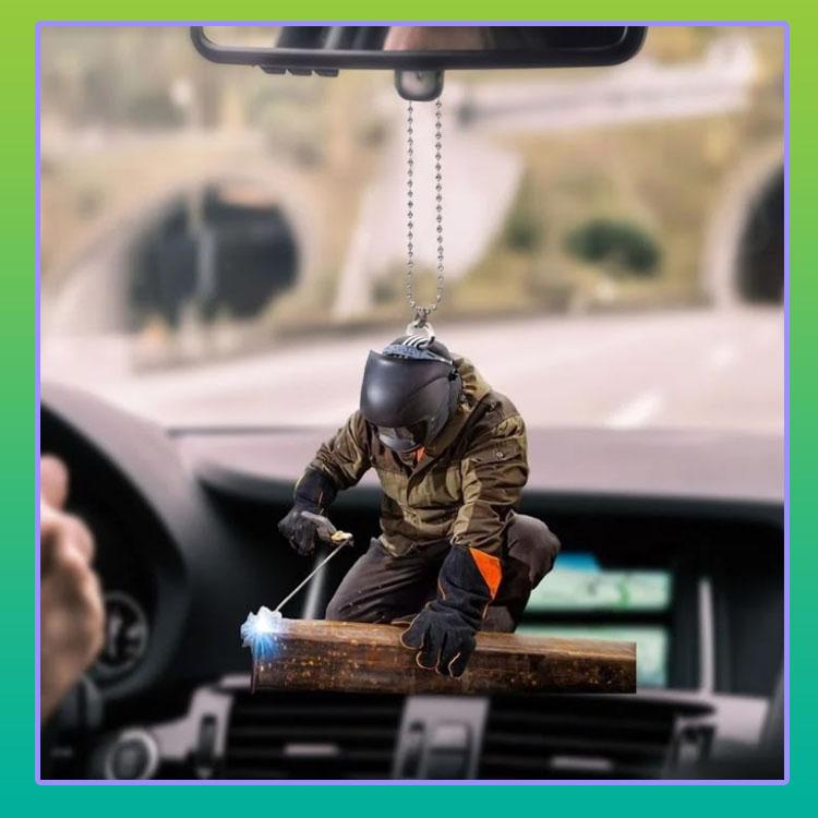 Welder hanging car ornament