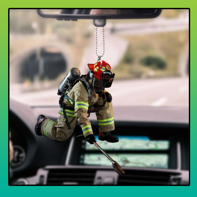 firefighter hanging car ornament
