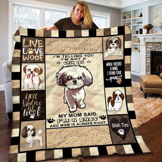 10 Baby Shih Im telling you i m not a Shih tzu quilt Blanket 1 1