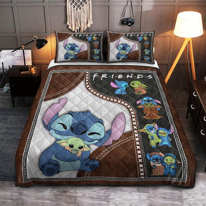 11 Baby Yoda And Stitch Friends Quilt Bedding Set 1