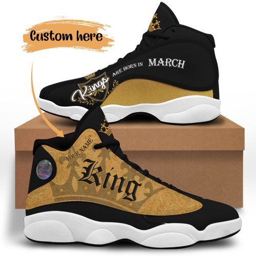 11 King Are Born In March Custom Name Jordan 13 Sneaker Shoes 1