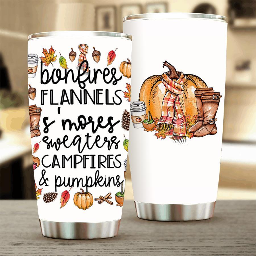 12 Bonfires Flannels Its Mores Sweaters Campfires And Pumpkins Tumbler 1 1