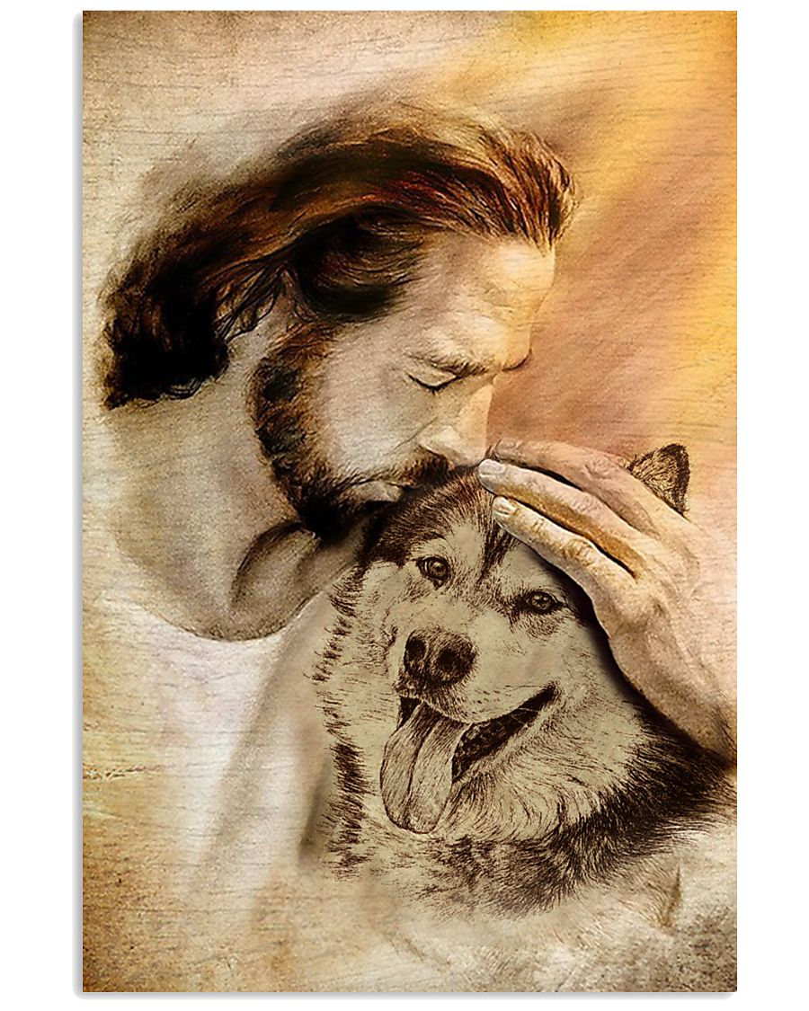 15 Jesus with lovely Alaskan Malamute for dog lover Vertical Poster 1 2