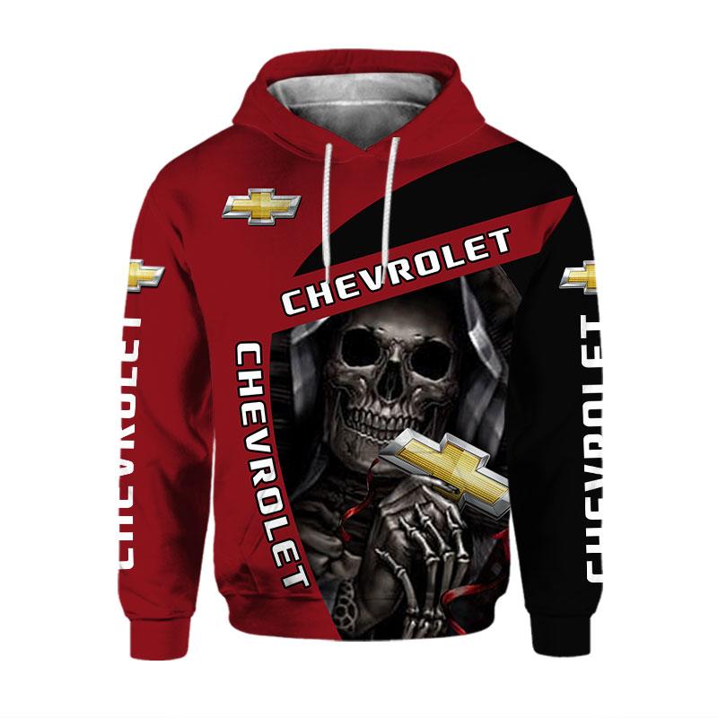 16 Chevrolet Skull 3d over print Hoodie 1 1