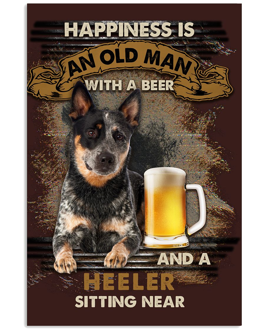 16 Heeler Sitting near old man Gift for you Vertical Poster 1 2