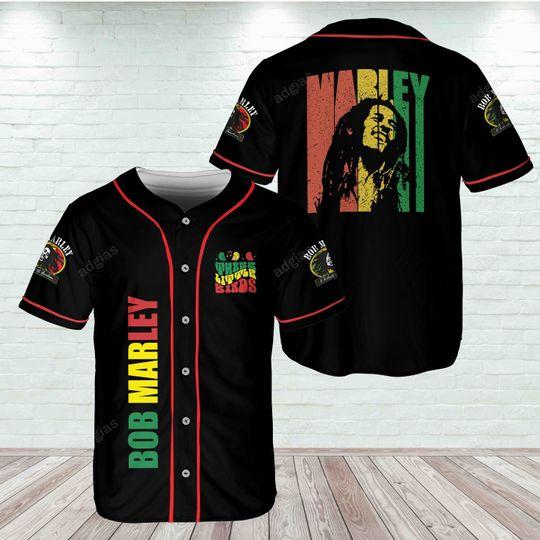 18 Bob Marley Three Little Birds Baseball Jersey Shirt 1 1