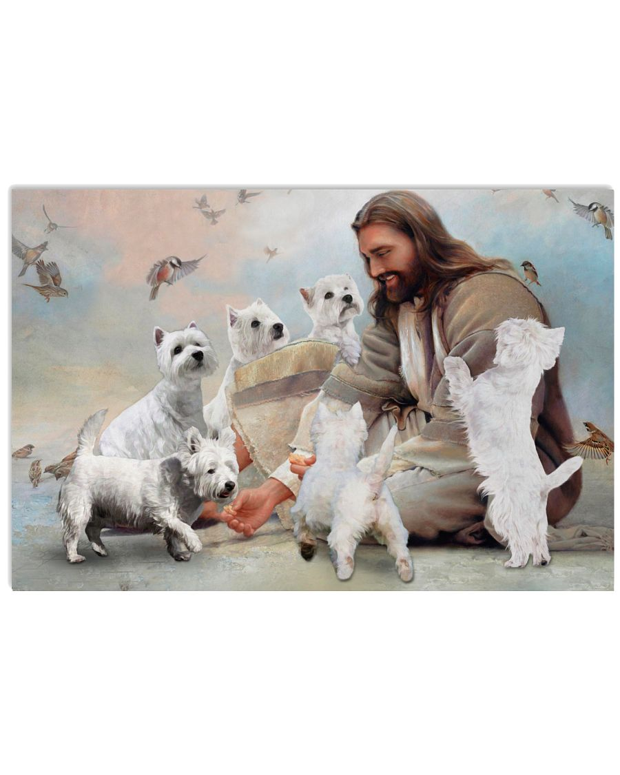18 God surrounded by Westie angels Gift for you Horizontal Poster 1 2