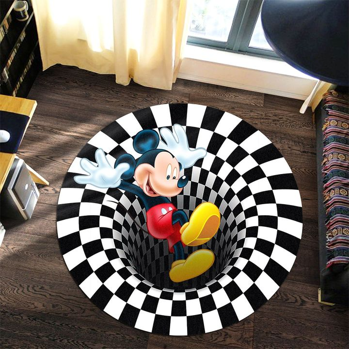 18 Mickey Mouse illusion Round Rug 1
