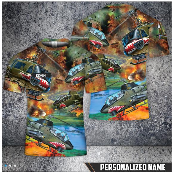 19 Custom Name United States Army Huey Cobra Helicopter T Shirt 1 1