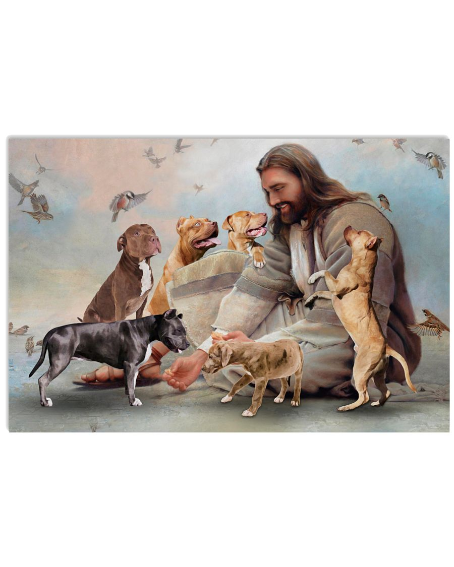 2 God surrounded by Pitbull angels Gift for you Horizontal Poster 1 2