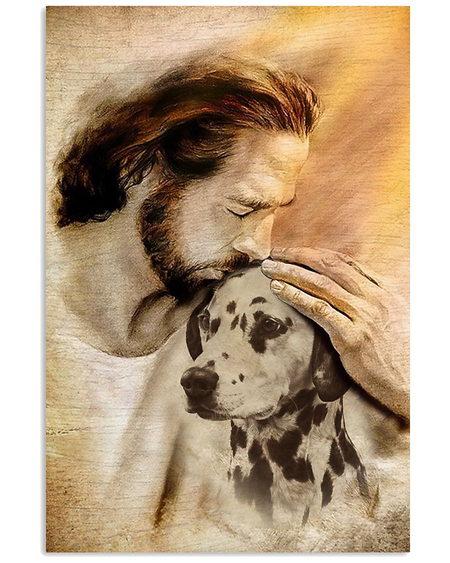 20 Jesus with lovely Dalmatian for Dalmatian lover Vertical Poster 1 2