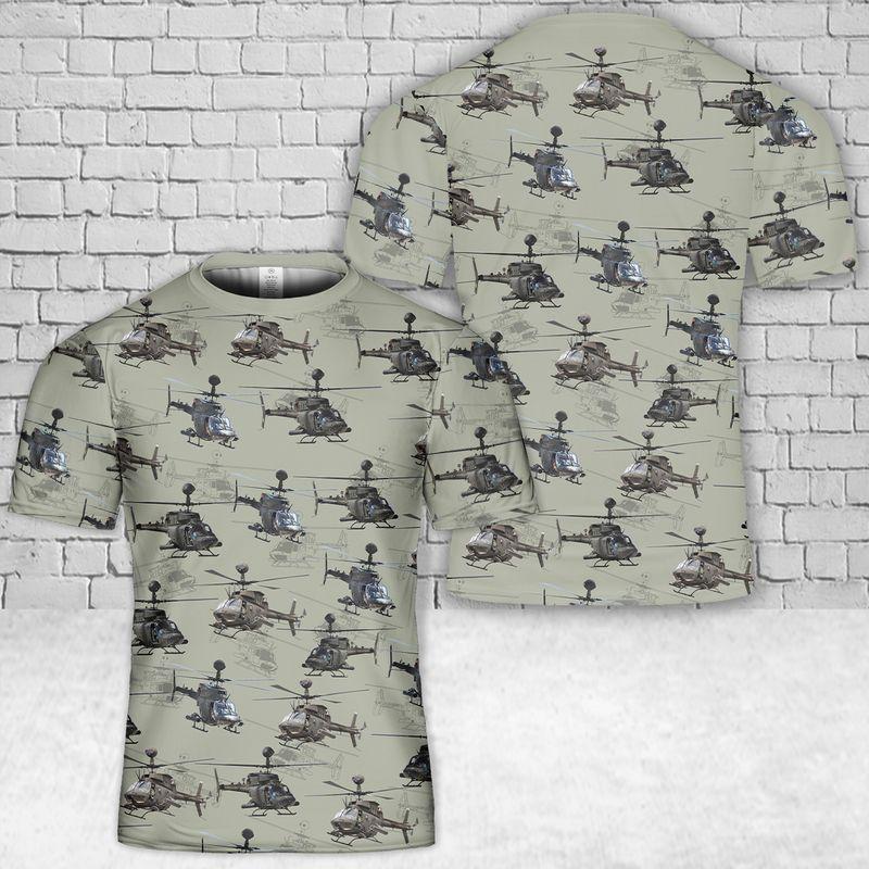 20 US Army Bell Kiowa 3D T Shirt 1 1