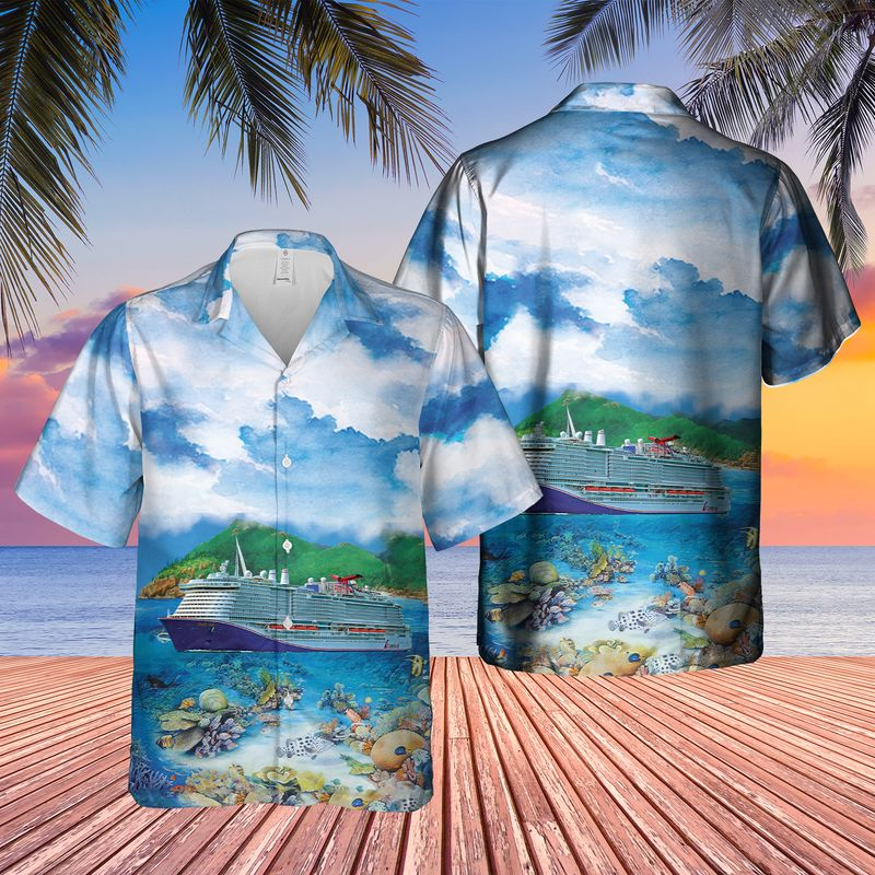 24 US Cruise Ship Mardi Gras Ocean Life Hawaiian Shirt And Shorts 1 1
