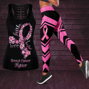 25 Breast Cancer Awareness Butterfly Hollow Tank Top And Legging Set 1