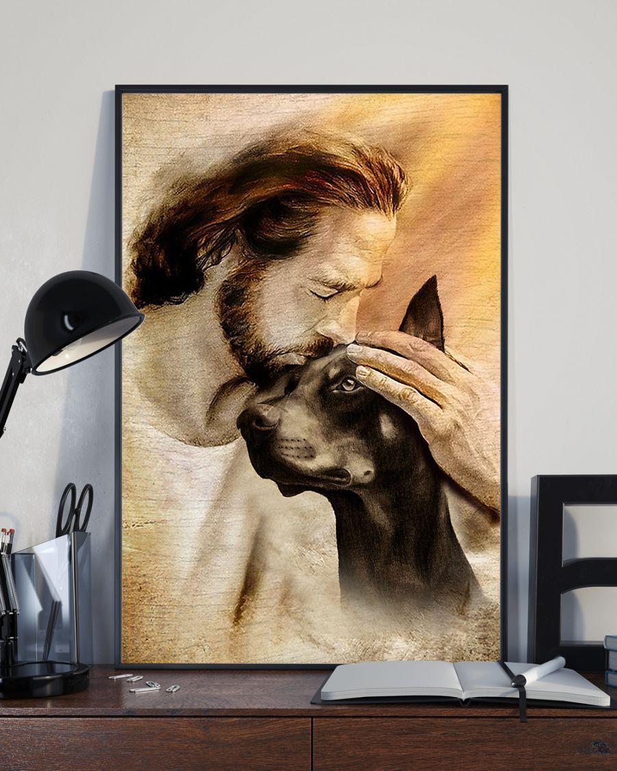 25 Jesus with lovely Doberman pinscher dog lover Vertical Poster 3