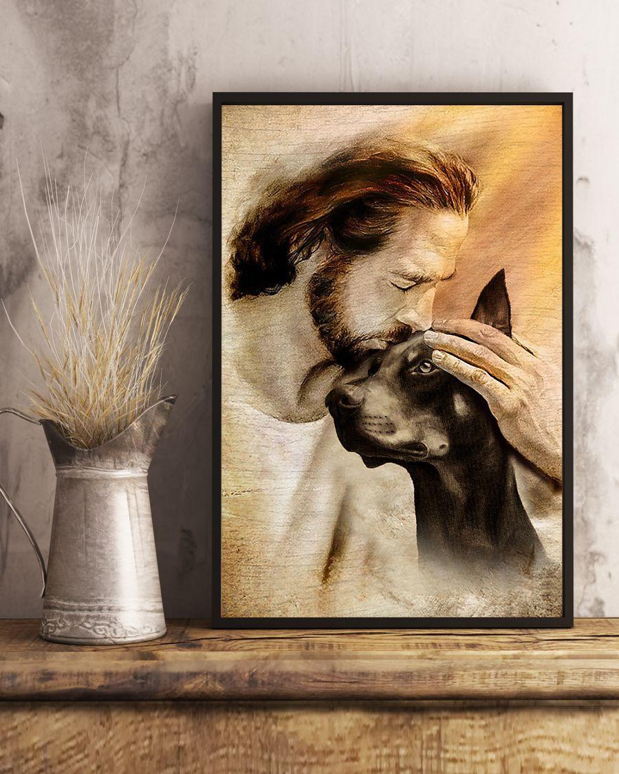 25 Jesus with lovely Doberman pinscher dog lover Vertical Poster 4