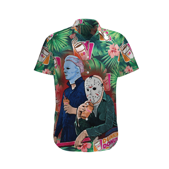 26 Jason Voorhees and Michael myers Dunkin Donut hawaiian shirt 1 1