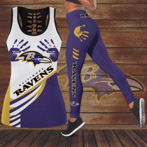 27 Baltimore Ravens Hollow Tank Top And Leggings Set 1