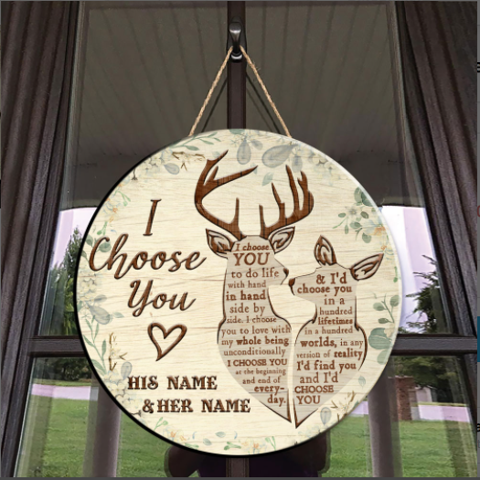 27 Personalized Deer Hunting I Choose You custom name Wooden Round Sign 1 1