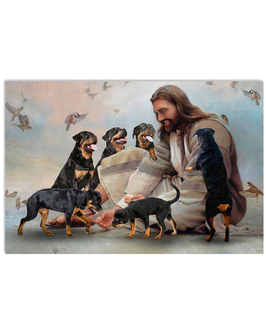 3 God surrounded by Rottweiler angels Gift for you Horizontal Poster 1 1