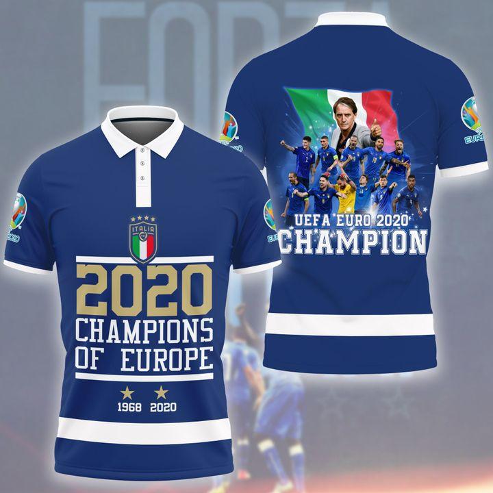 3 Italia 2020 Champion Of Europe Polo Shirt 1 1