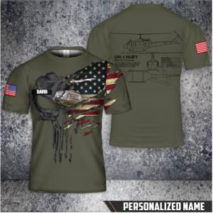 8 Custom Name US Army Bell UH 1 Huey T Shirt 3D 1