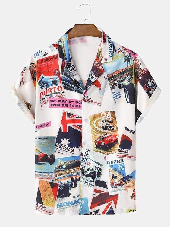 9 Classical Car Poster Print Short Sleeve Shirts 1 1