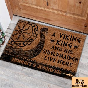 A Viking King And His Shield Maiden Live Here Custom Name Doormat