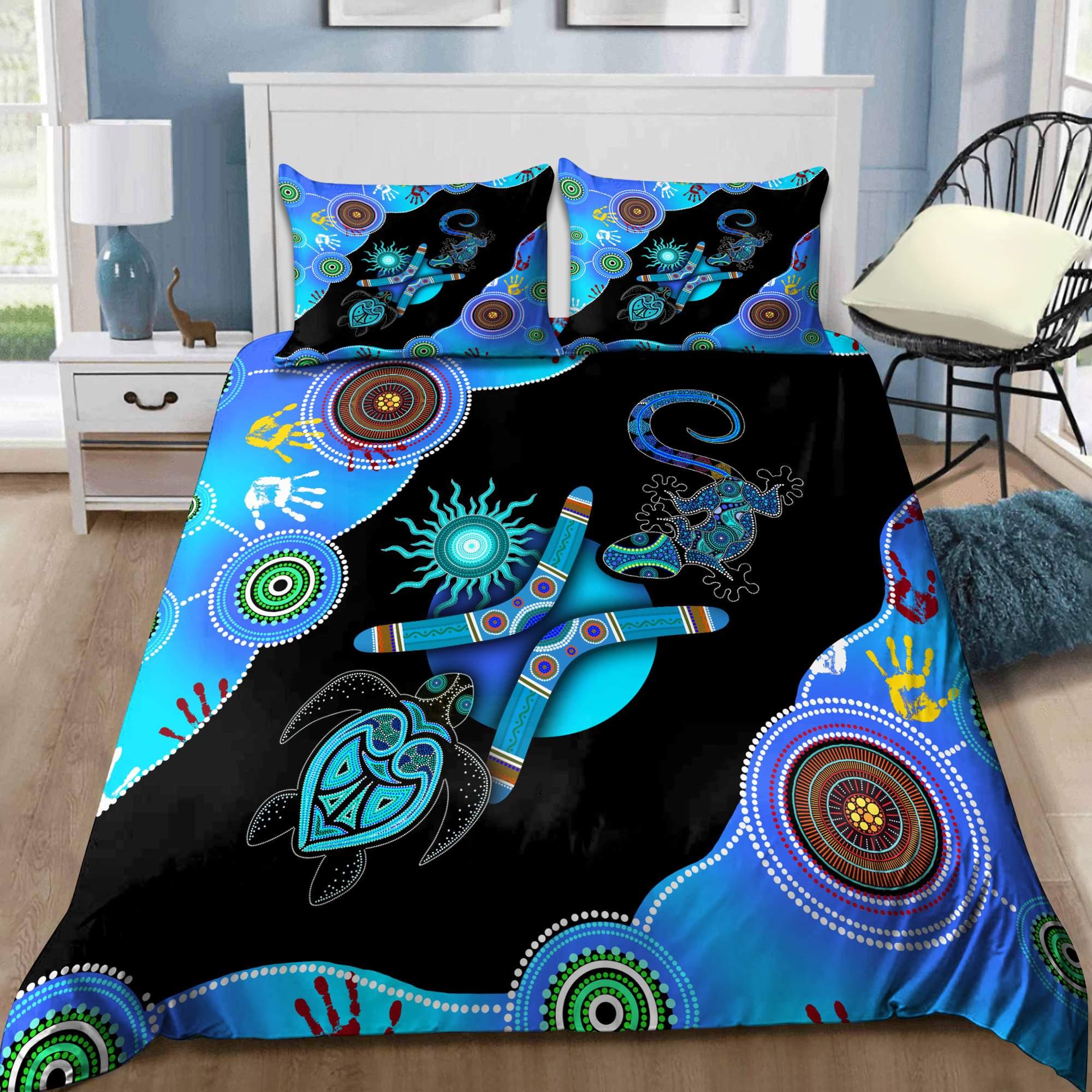 Aboriginal Naidoc Week 2021 Blue Turtle Lizard Bedding set