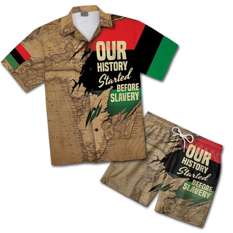 African map hawaiian shirt and shorts